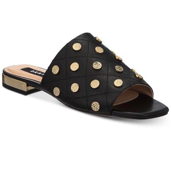 41d351597 LAST ONE DKNY Roy Flat Slide Sandal Black Slippers